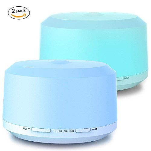 Aromatherapy Diffusers for Essential Oils 2 Pack, 450ml Essential Oil Diffuser and Humidifiers for Large Room with Adjustable Mist Mode, 4 Timer Settings, 8 Colors Light - LUSCREAL #Aromatherapy #Diffusers #Essential #Oils #Pack, #Diffuser #Humidifiers #Large #Room #with #Adjustable #Mist #Mode, #Timer #Settings, #Colors #Light #LUSCREAL