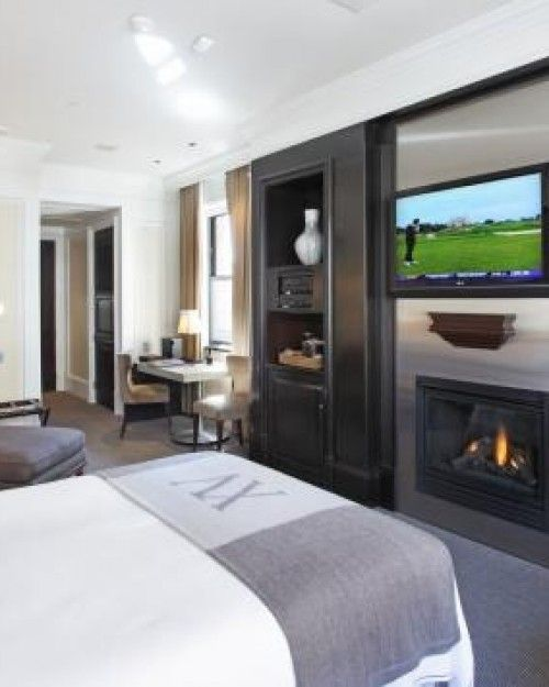 All of the rooms have gas fireplaces and many are uniquely designed; here, a Traditional Room.