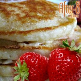 Creamy strawberry pancakes.