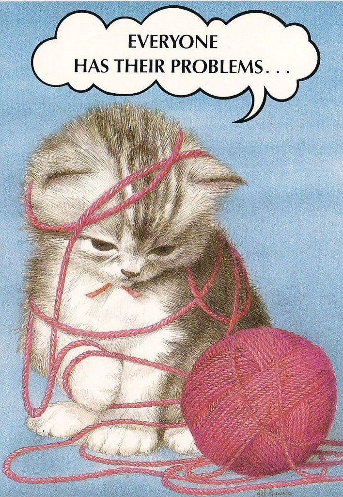Knitting Happy Birthday Card : Rtoon funny cat kitten happy birthday all tied up in