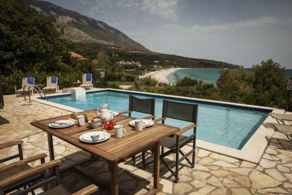Views which extend over the Ionian sea, to the east, where the Greek island of Zante crouches on the horizon, whilst to the west, the craggy outline of the Liakas peninsula marks the end of the bay.