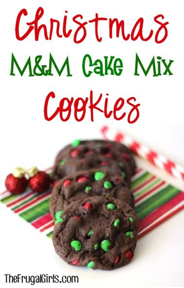 Christmas M&M Cake Mix Cookies Recipe! {the perfect treat for your Christmas parties and holiday cookie exchanges!}  #recipes   TheFrugalGirls.com