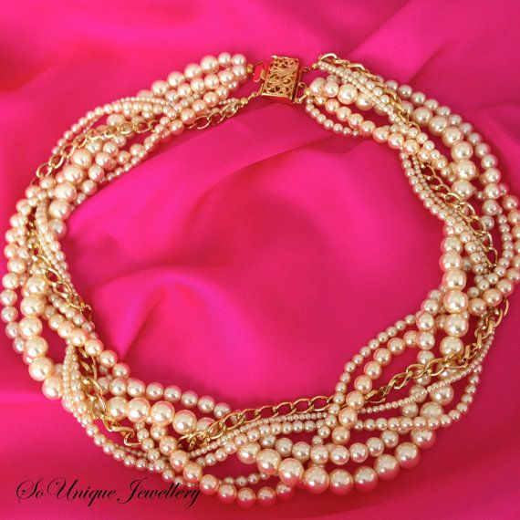 Cream pearl statement necklace by SouniqueJewellery on Etsy, £45.00 Pearl statement necklace