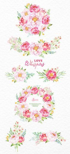 Love Whispers: 6 Watercolor Bouquets and 1 Wreath por OctopusArtis