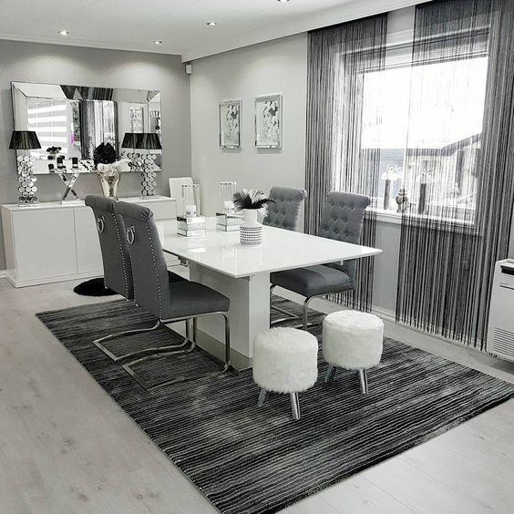 This Is A Nice Look For A Dining Table For The New Kitchen And Would Fit.  Wohnzimmer GestaltenHaus GestaltenModerne WohnzimmerSchwarz WeißGrauHochglanzMein  ...