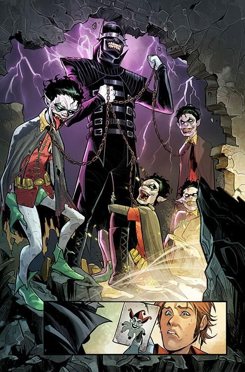 The final evil Batman hybrid from the Dark Multiverse has been revealed and he's a cross between The Dark Knight and his arch nemesis, the Joker. He even has his own group of Robins...