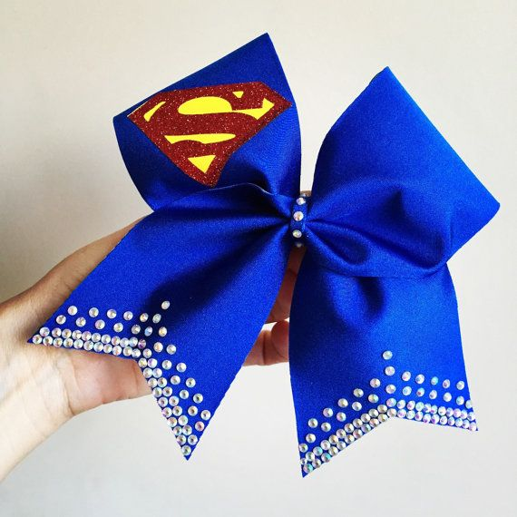 Superman Deluxe spandex Rhinestone Bling Cheer Bow Supergirl