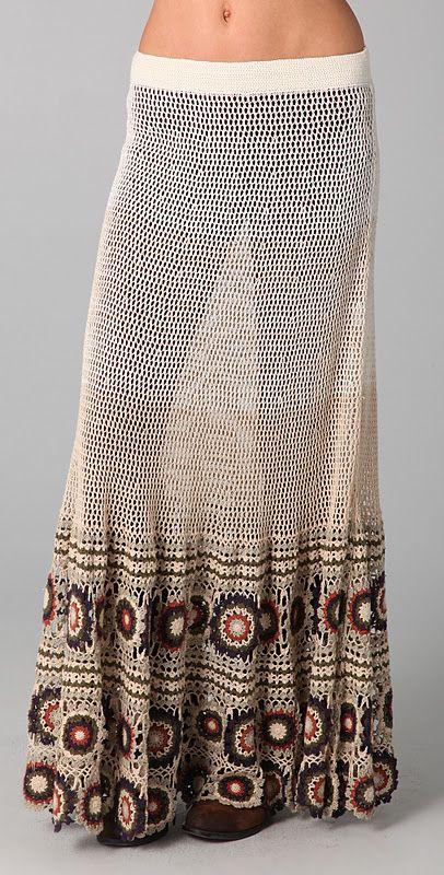 Fabulous Crocheted skirt. I like the basic stitch with the motifs for bottom ruffle