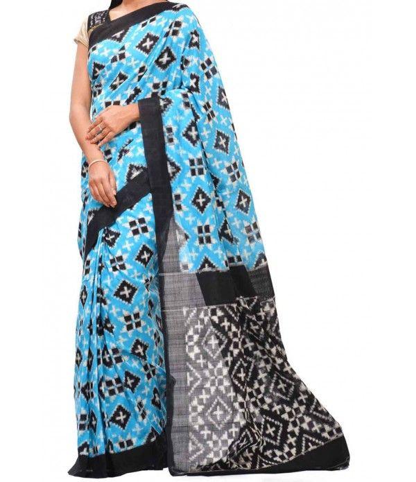 Blue Telia Ikat Cotton Handloom Saree