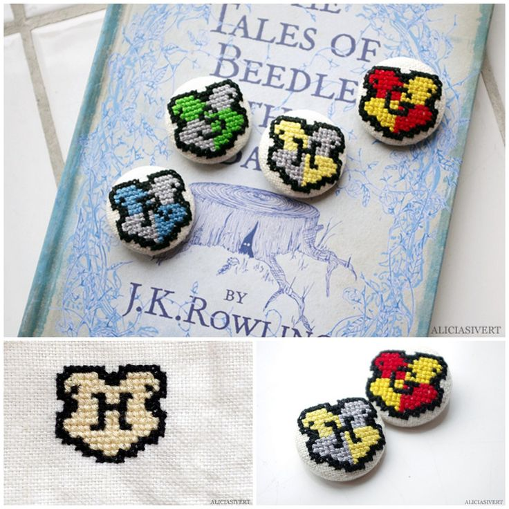 DIY Mini Harry Potter Hogwart House Cross Stitch Badge Charts from Alicia Sivert. These Hogwart House badges are tiny and if you have never cross stitched before this is an absolute beginner project....