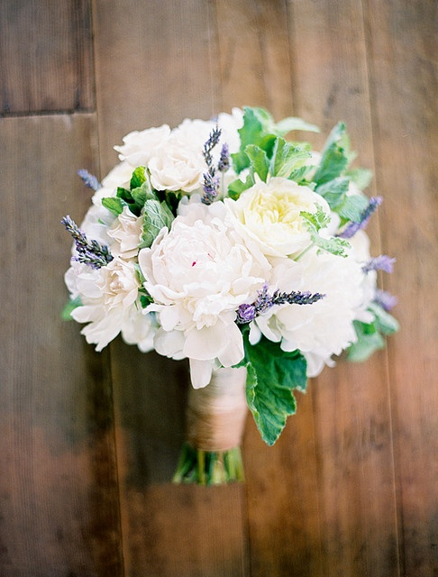 white peony bouquet with sprigs of lavender