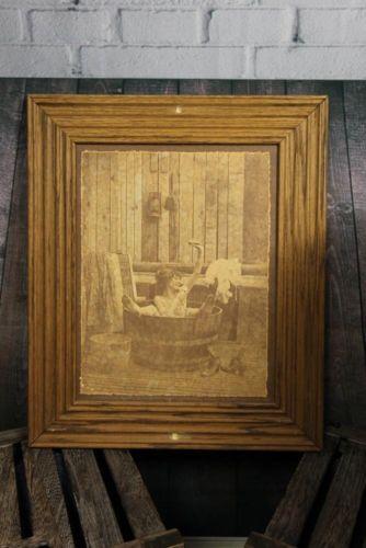 vintage r hendrickson art sepia framed print nude woman wash tub bathing