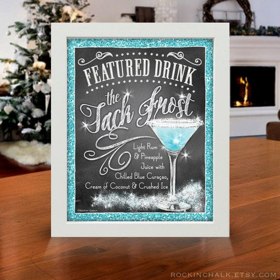 Christmas Party Decoration | Signature Drink Signs | Custom Chalkboard Style Prints with GLITTER FX for Christmas, New Year, Winter Wedding