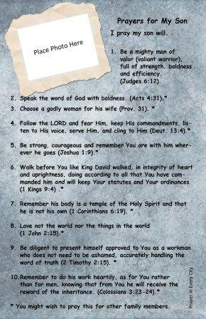 10 Prayers for My Son. FREE! Prayer Journal Printable