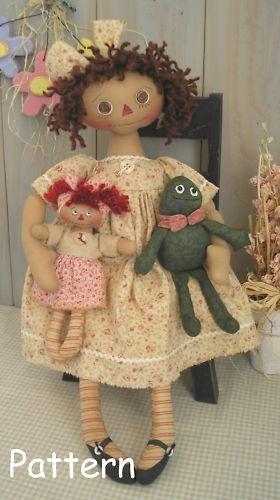 PATTERN Primitive Raggedy Ann Doll Frog Dolly Fabric Cloth Folk Art Craft Sewing | eBay