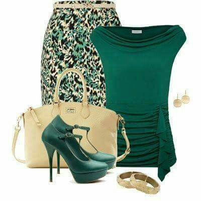 Green and cream work fashion
