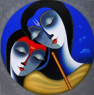 EternalLove - Painting by Santosh Chattopadhyay