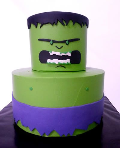 Incredible Hulk Cake - add bolts on the neck and you've got a Frankenstein cake! ~
