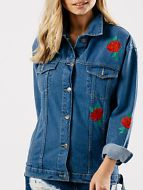 Womens Rose Embroidered Longline Denim Blue Cotton Ladies Jacket