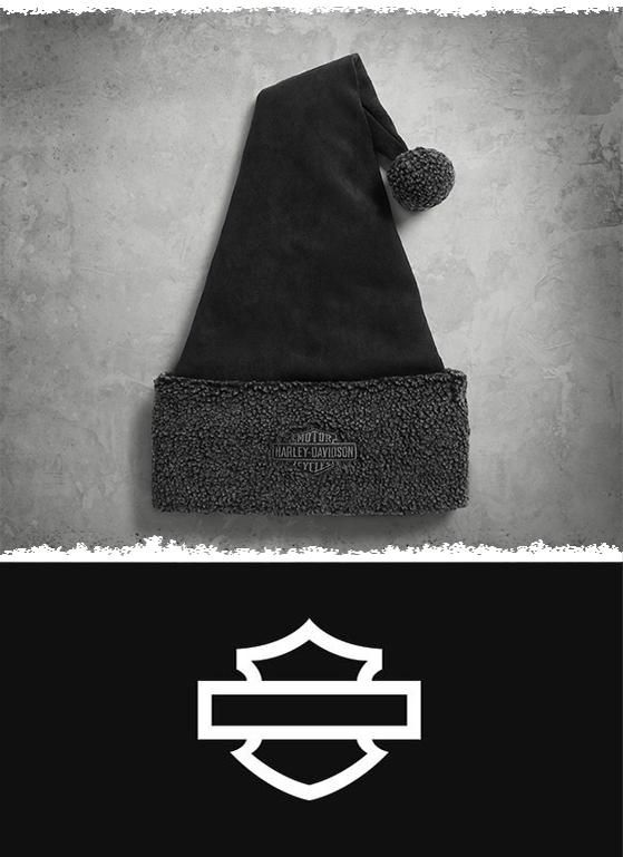 We tempt St. Nick to ditch the red fur for our black sueded lid trimmed in toasty Berber fleece. | Harley-Davidson New Holiday Santa Hat