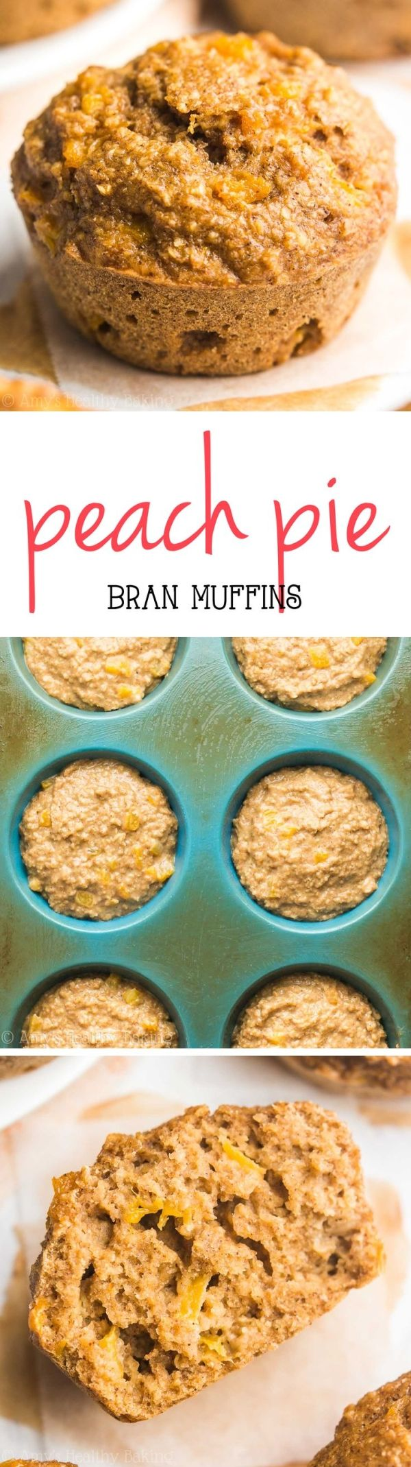 Healthy Peach Pie Bran Muffins -- such an easy, guilt-free recipe! Just 109 calories! My family called these the BEST bran muffins they've ever had! by emily