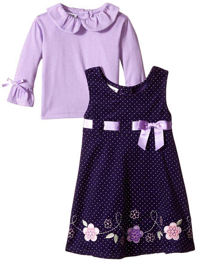 32595bb15dd4 Blueberi Boulevard Baby Girls 3/6M 6/9M Purple Dot Corduroy Jumper Dress  Set Nwt