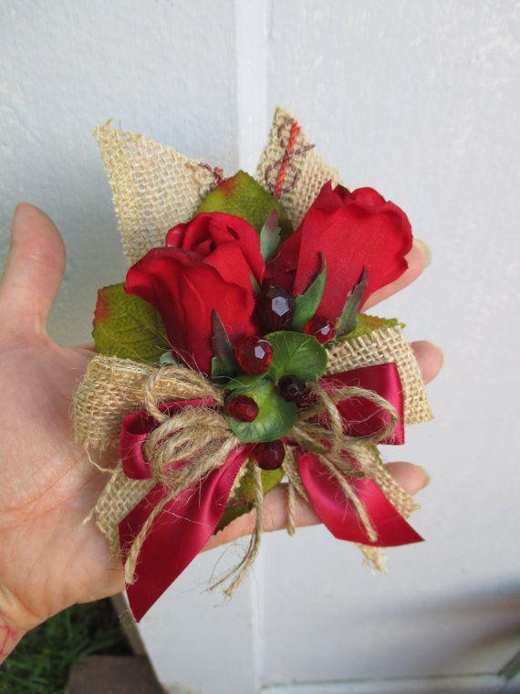 Red Rose Corsage with Burlap Trim Wedding Bridal Shower