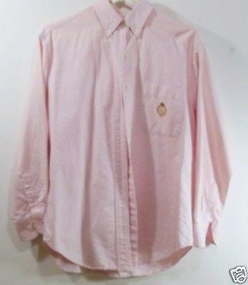 468098104c LAUREN Pink Pin Striped Blouse Shirt Crest Logo 42