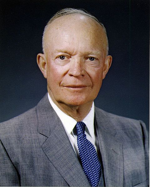 Dwight David Eisenhower was born October 14, 1890 in Denison, TX, and died March 28, 1969 in Washington, D.C. He served as 34th President of the United States from January 20, 1953 to January 20, 1961, serving two full terms. He was affiliated with the Republican party. His vice-president was Richard Milhous Nixon. His first lady was Mamie Geneva (Doud) Eisenhower, his wife.