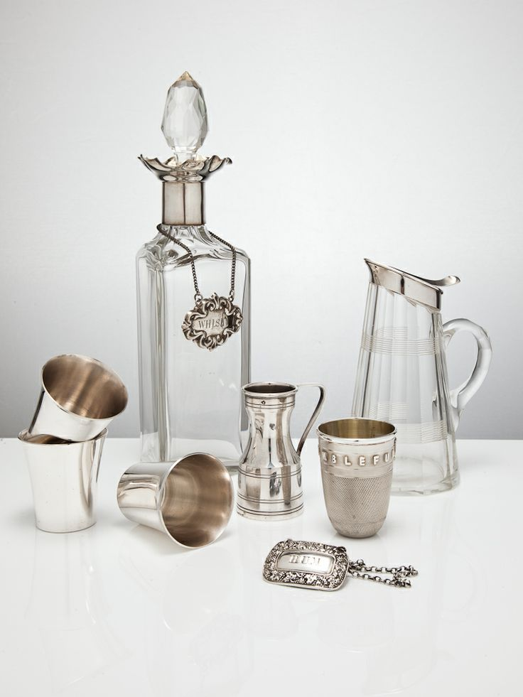 Decanters for Whiskey & Spirits, vintage silver 'tots' and measures, and a vintage glass & silver water jug for smoother sipping. www.silvervaultslondon.com