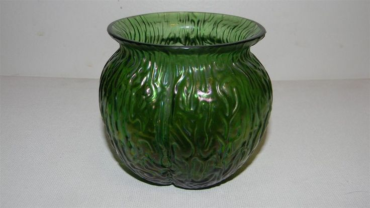 Vintage Loetz Green Iridescent Art Glass Vase