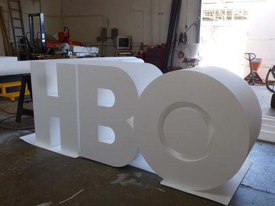 Large foam letters HBO styrofoam, hard coating www.wecutfoam.com