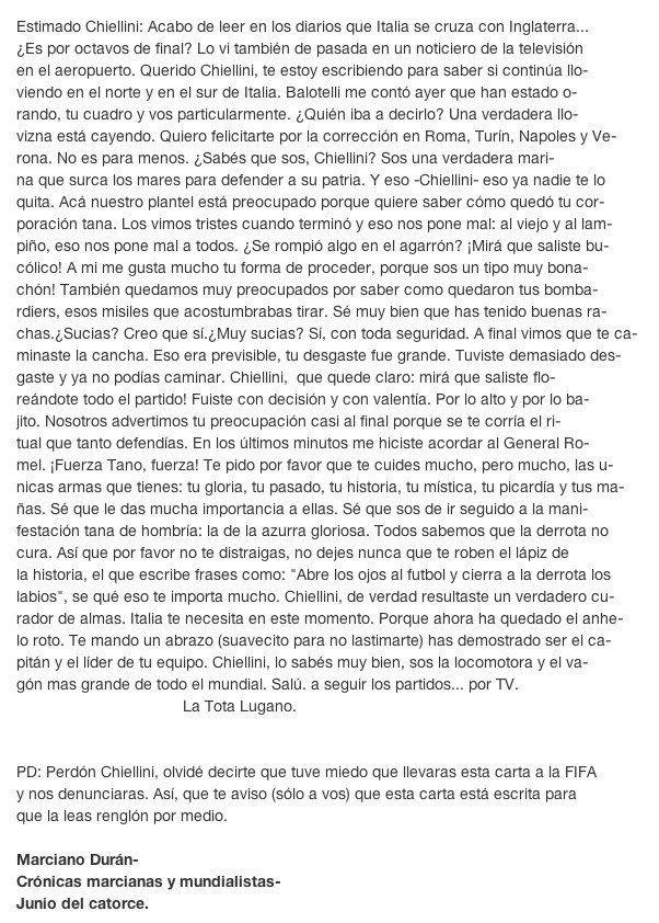 Carta de Diego Lugano a Chiellini