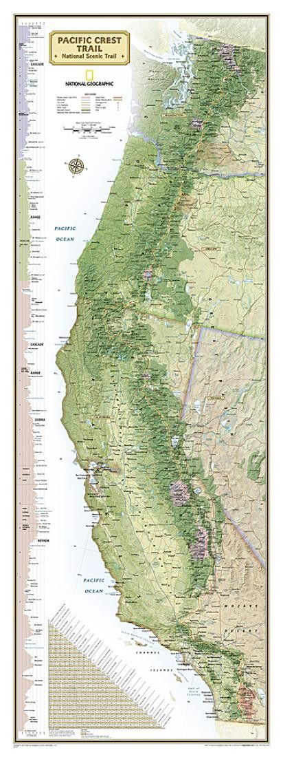 Pacific Crest Trail, Boxed Wall Map by National Geographic Maps