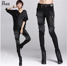 Бесплатная доставка европа сексуальные черные джинсы женщина карандаш брюки…