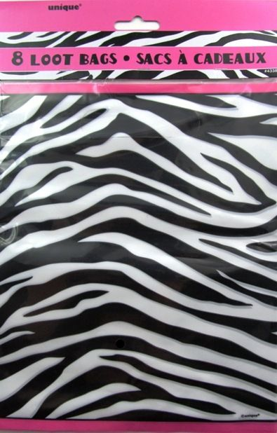 Zebra Passion Party Loot Lolly Bags Black White Pink - 8 Pack
