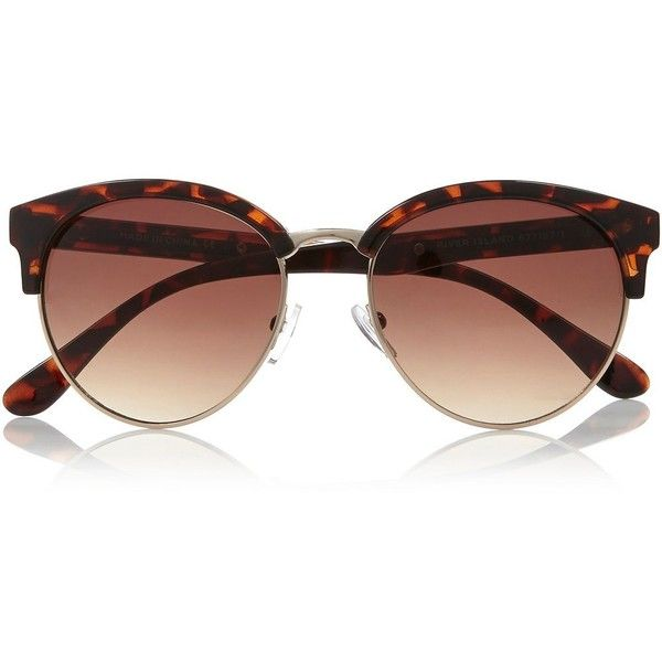 Brown tortoise clubmaster-style sunglasses ($14) ❤ liked on Polyvore featuring accessories, eyewear, sunglasses, glasses, óculos, river island, brown sunglasses, tortoiseshell glasses, tortoise shell sunglasses and tortoise sunglasses