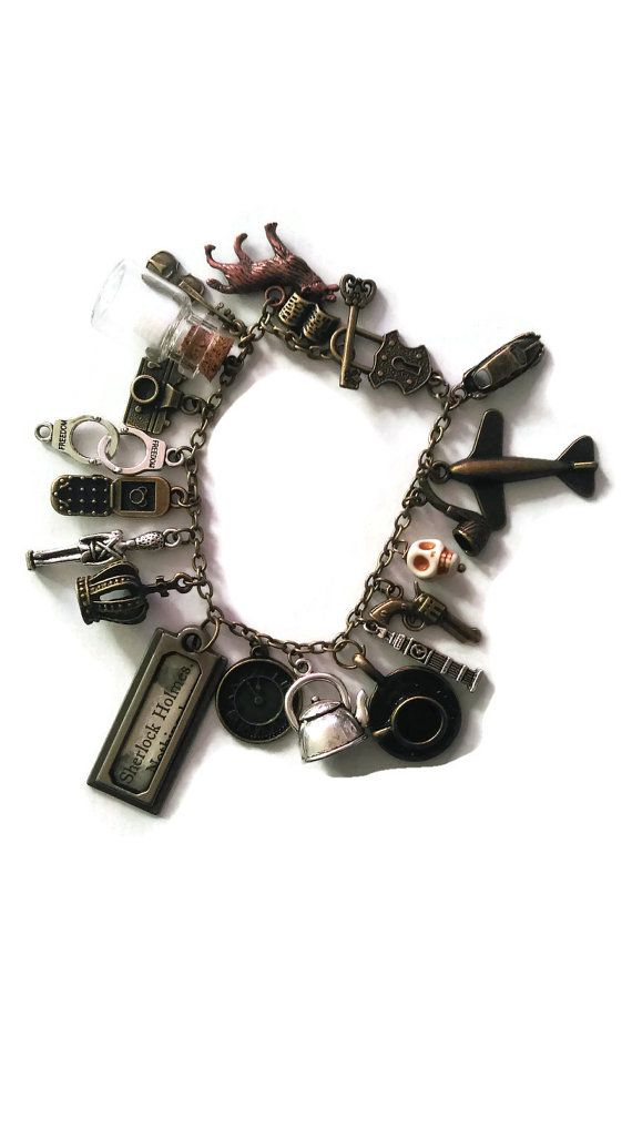 Sherlock Holmes bracelet, filled charm bracelet, bronze and silver fan jewellery, sherlock, fandom, loaded Holmes charm bracelet,