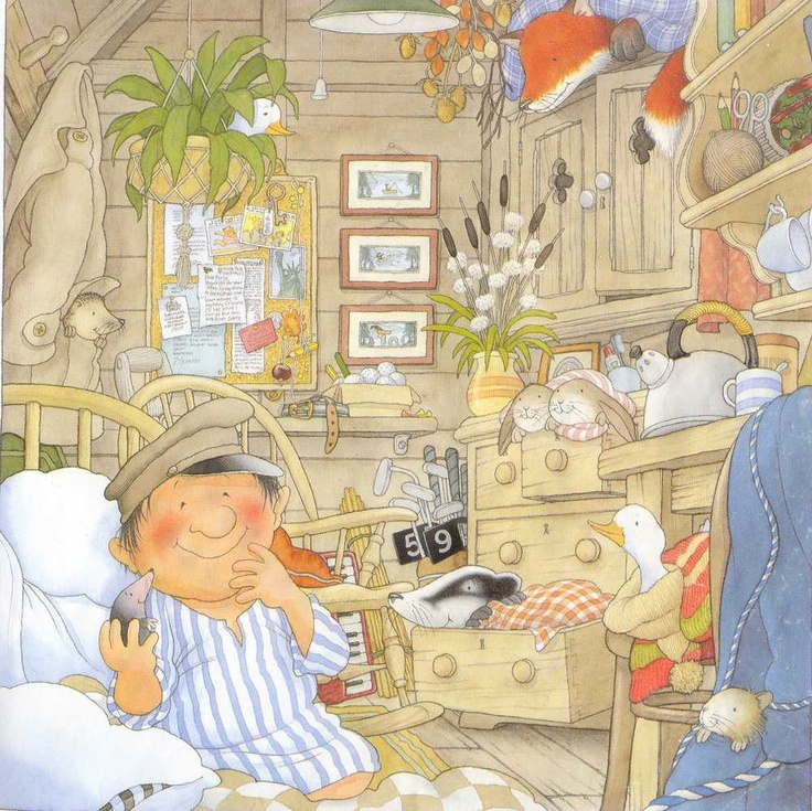 Nick Butterworth's illustration of Percy's bedroom is so sweet. All the little creatures are safe in 'One Snowy Night'.