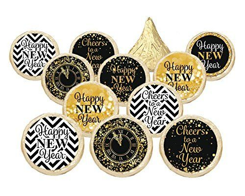 2017 New Year's Eve Party Favors - Gold and Black Stickers for Hershey Kisses (Set of 324)