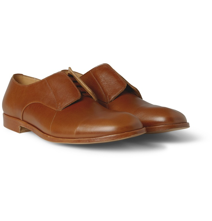 Maison Martin Margiela Concealed-Lace Up Leather Derby Shoes | MR PORTER