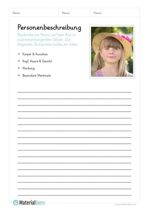 ein kostenloses arbeitsblatt zum thema personenbeschreibungen auf dem die sch ler ein m dchen. Black Bedroom Furniture Sets. Home Design Ideas