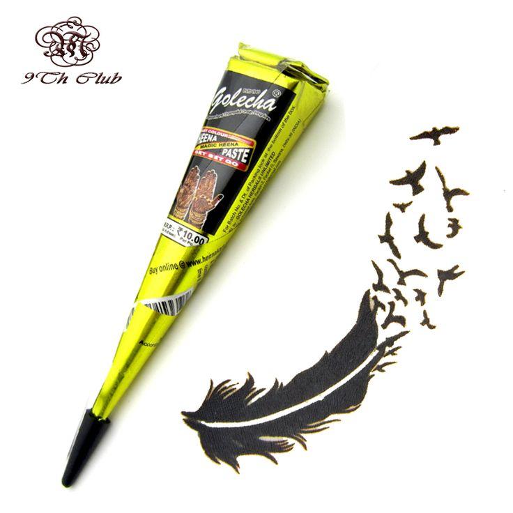 1pcs Black GOLECHA Henna Tattoo Paste Cones,Indian Mehndi Henna Tattoo Paste Black Brown Red Colored Cream For Body Paint 25g [Affiliate]