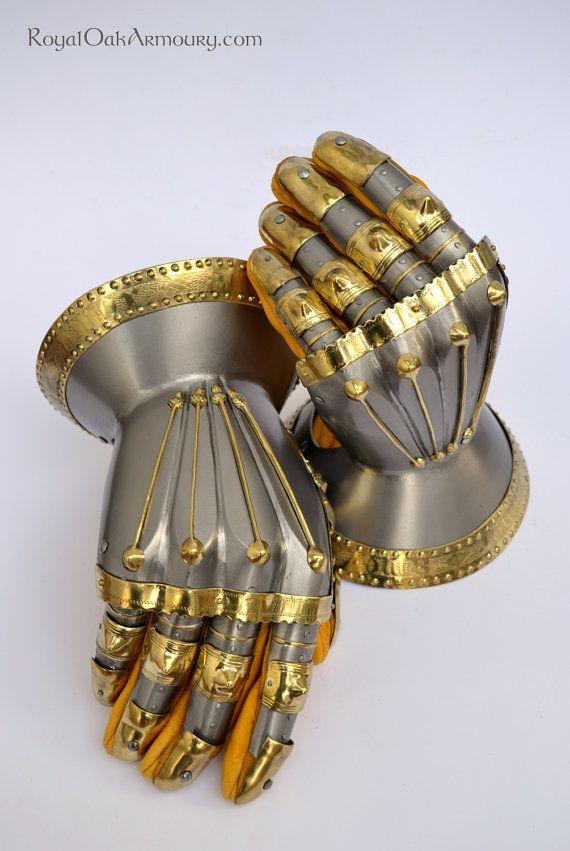 HandMade 14th C Hourglass Gauntlets by RoyalOakArmoury on Etsy, $1200.00