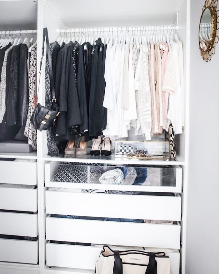 Tip of the day: Make your closet look instantly more organized with matching hangers and colour coordinated outfits! #closetspice #pinterest