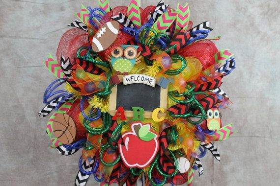 Wreath Back to School, Red and Yellow Deco Mesh, Teacher's Door Wreath, Owl…