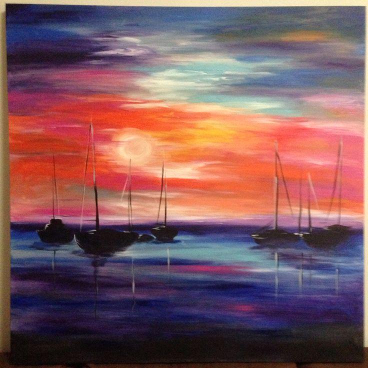 Harbour sunset - acrylic