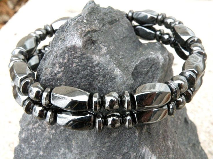 Mens Womens Black 100% Magnetic Hematite Healing Bracelet Anklet 2 Row 15mm WIDE
