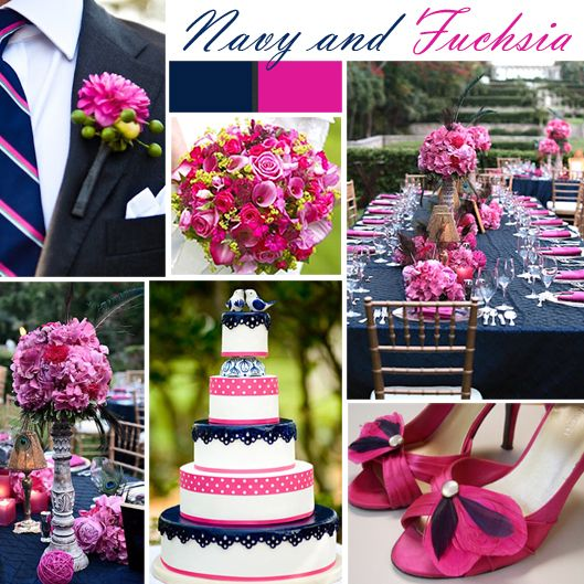 Navy and Fuchsia Wedding Colors - A great combination for a spring or summer wedding is navy with fuchsia/hot pink. The bright pink plays beautifully off the rich, deep blue.