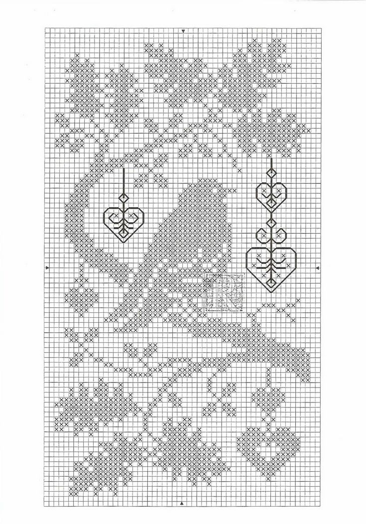 """clear chart, but no colors.  I guess it's a monochrome.  but might be interesting to do the hanging hearts as beads or buttons, including the third one on the lower part of the graph.  And I'd delete the """"R"""" at the bird's feet."""